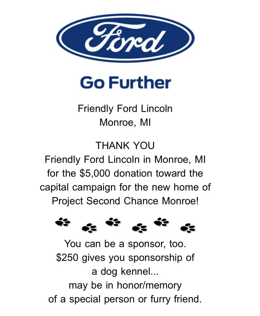 Friendly Ford Monroe Mi >> Home Project Second Chance Monroe